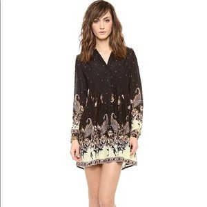 Sz S Free People black sierra valley shirt dress